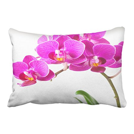 WinHome Decorative Decors Pink Purple Dendrobium Orchid Tropical Flower Throw Pillow Case Cushion Cover Home Sofa Decorative Size 20x30 inches Two - Tropical Flower