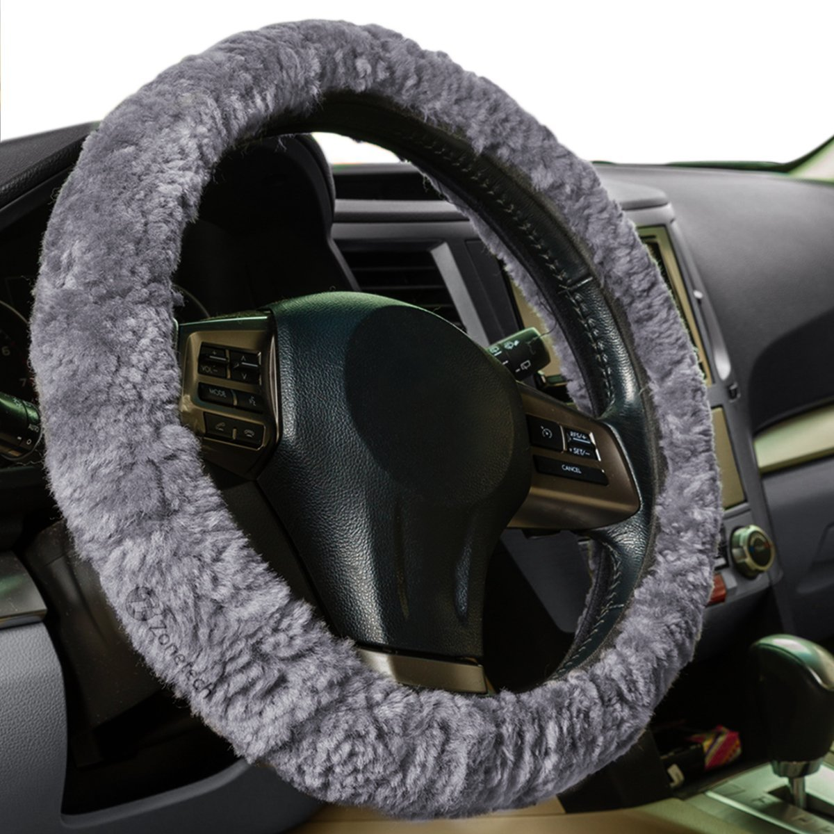 Zone Tech Plush Genuine Sheepskin Stretch  On Vehicle Steering Wheel Cover Gray Car Wheel Protector