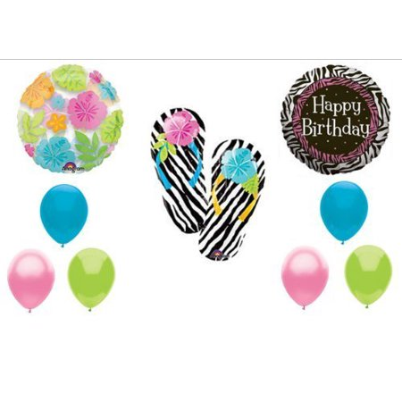 Zebra Flip Flop Luau BIRTHDAY PARTY Balloons Decorations Supplies by Anagram