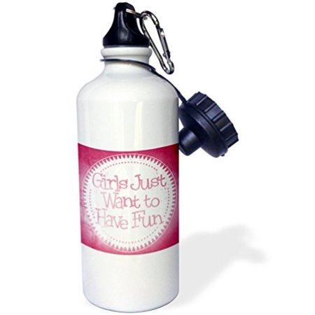 3dRose Pink On White Girls Just Want To Have Fun Word Art, Sports Water Bottle,