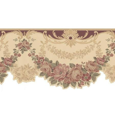 (877704 Scalloped Edge Floral Satin Wallpaper Border 978b05164)