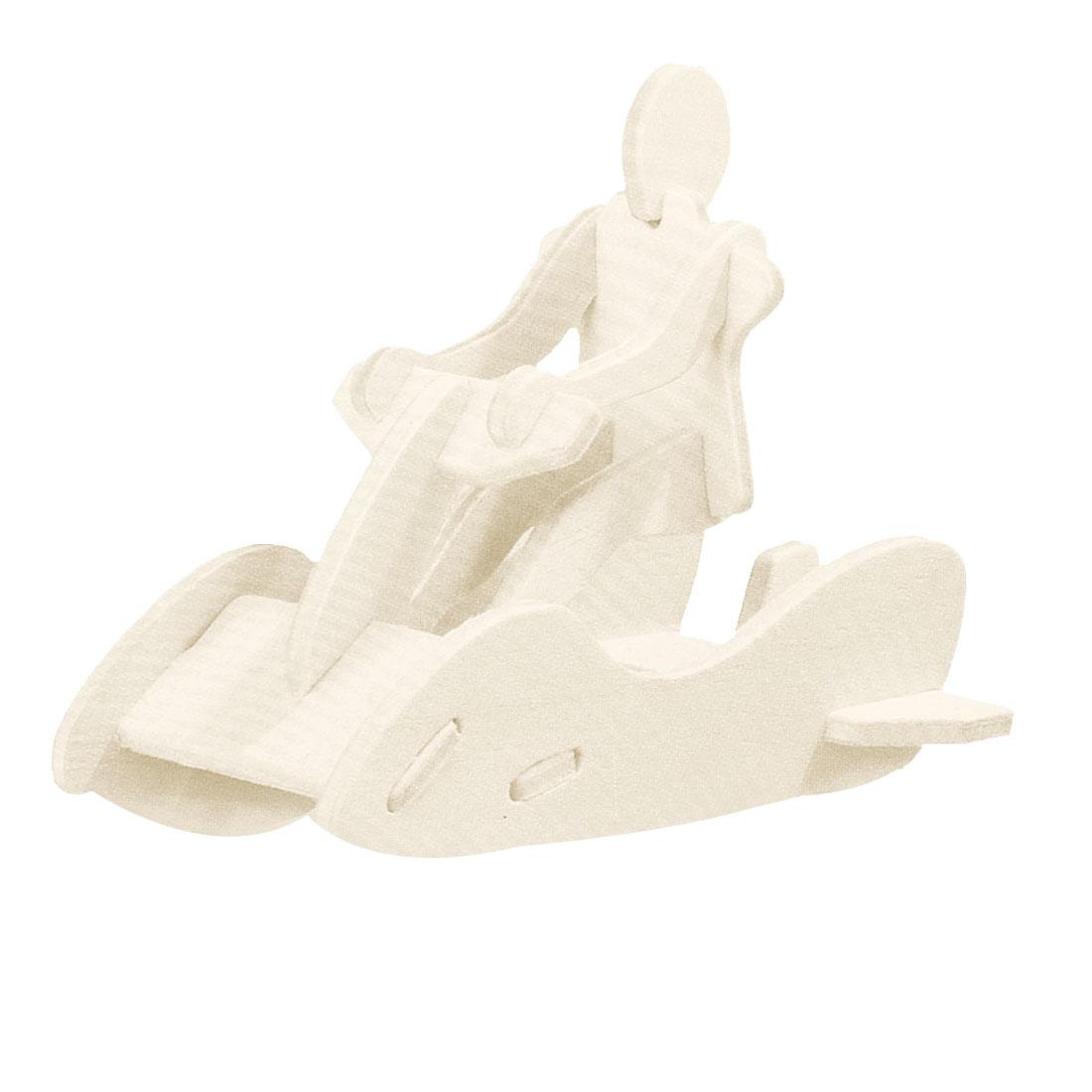Unique Bargains Children Woodcraft Construction Kit Motorboat Model Educational Puzzle Toy