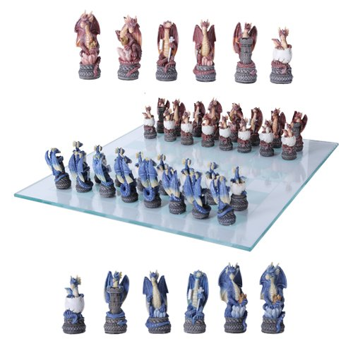Might And Magic Dragon Fantasy Collectible Hand Painted Resin Chess Pieces With Glass Board Set by Gifts & Decors