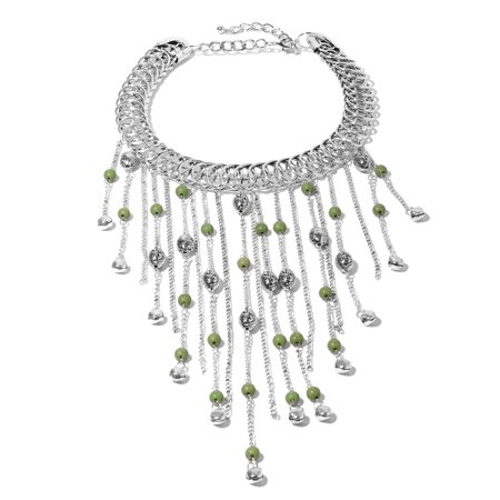 Green Howlite Beads Silvertone Fringe Choker Collar Necklace for Women 18