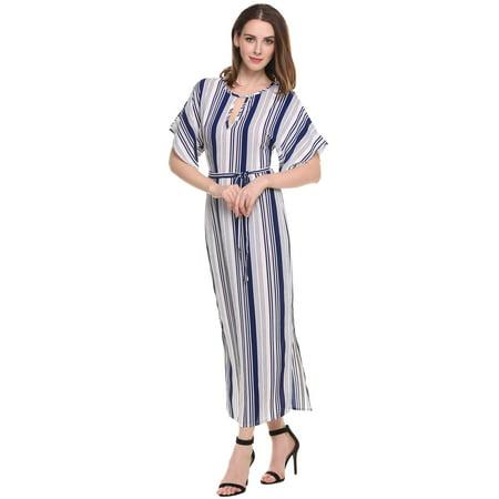 Women Elegant Keyhole Batwing Sleeve Striped Long Maxi Dress HFON