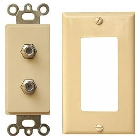 Morris Products 85220 Decorator Duplex Cable Tv Jack 2 Piece Ivory