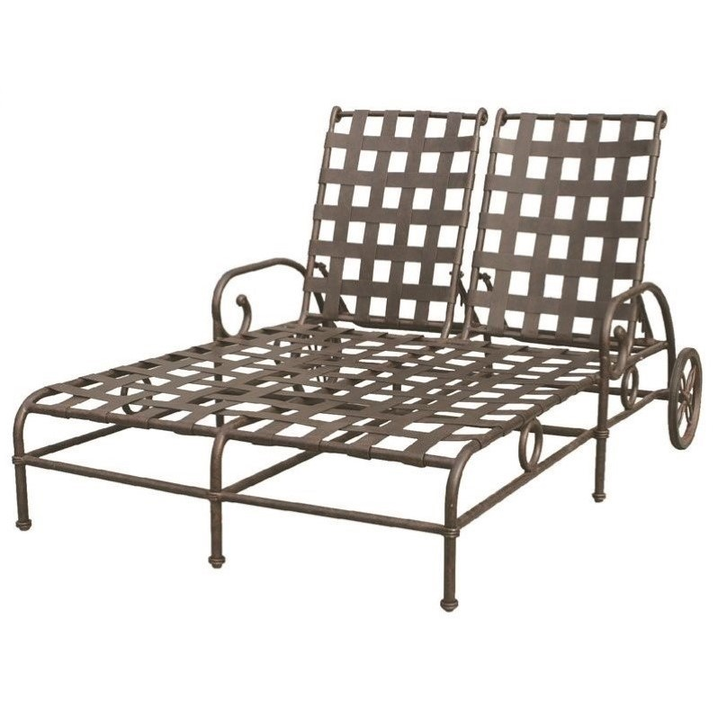 Darlee Malibu Double Patio Chaise Lounge in Antique Bronze