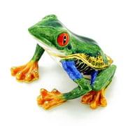 Green Frog With Red Eyes Trinket Box with Swarovski Crystal