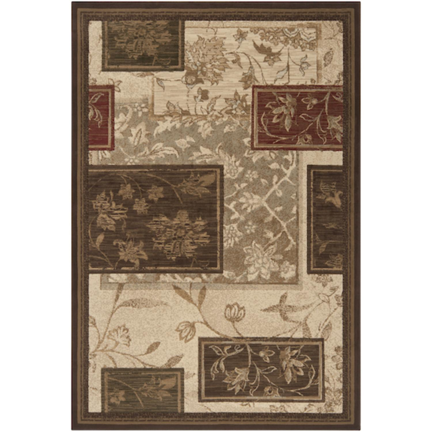 7.75' x 10.5' The Bradford Sienna and Fatigue Green Rectangular Area Throw Rug
