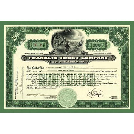 The Vignette Of Benjamin Franklin Flying His Kite In An Electric Storm Makes This Special As A Stock Certificate  Green Border Poster Print By Unknown