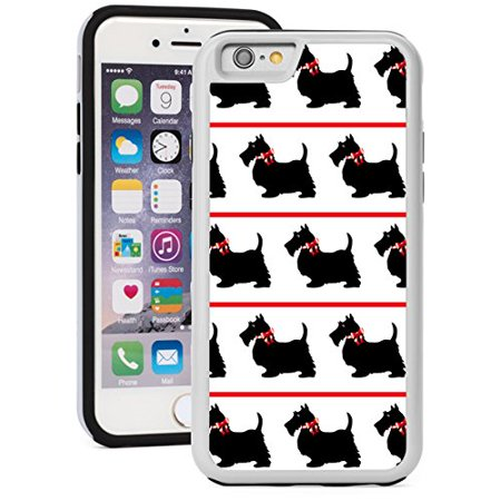 For Apple iPhone Shockproof Impact Hard Soft Case Cover Black Scottie Scottish Terrier Dogs With Red Bows (White for iPhone