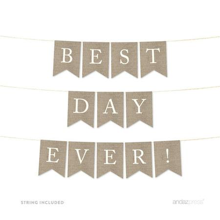 Best Day Ever Burlap Wedding Pennant Party Banner - Burlap Garland