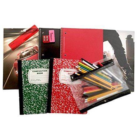 World Of Pencils (Extreme Sports School Supplies Bundle - (Corvette and Skating Folder - Composition Books - Notebooks - Pencil Case - Pens - Pencils -)