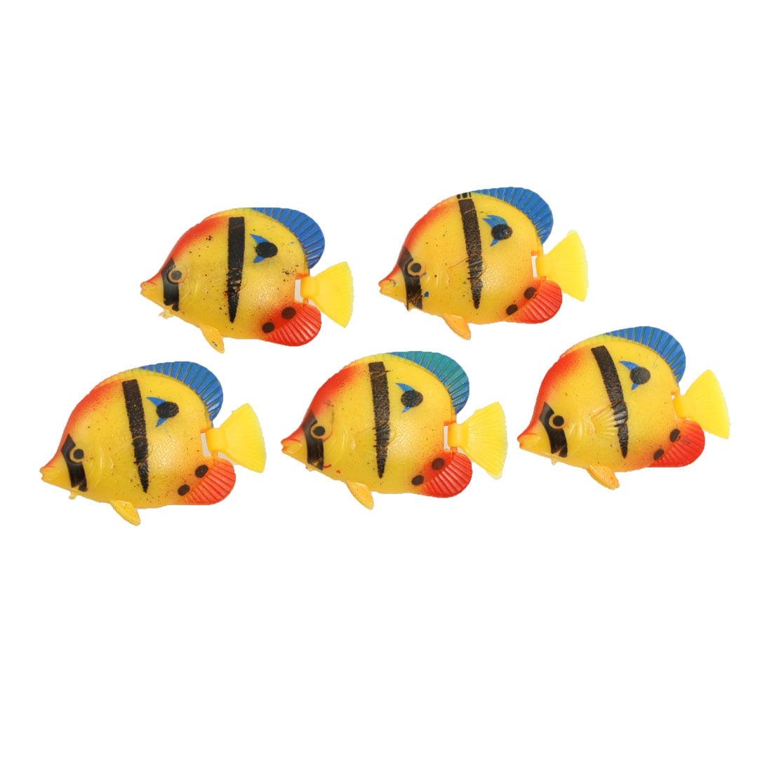 Unique Bargains Yellow Red Plastic Swimming Crucian Decor 5 Pcs for Aquarium