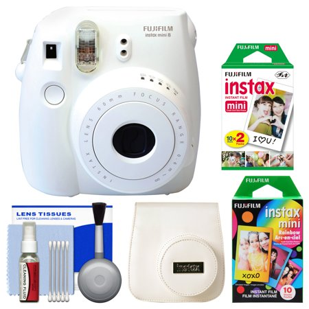 Fujifilm Instax Mini 8 Instant Film Camera (White) with 20 Twin & 10 Rainbow Prints + Case + Kit