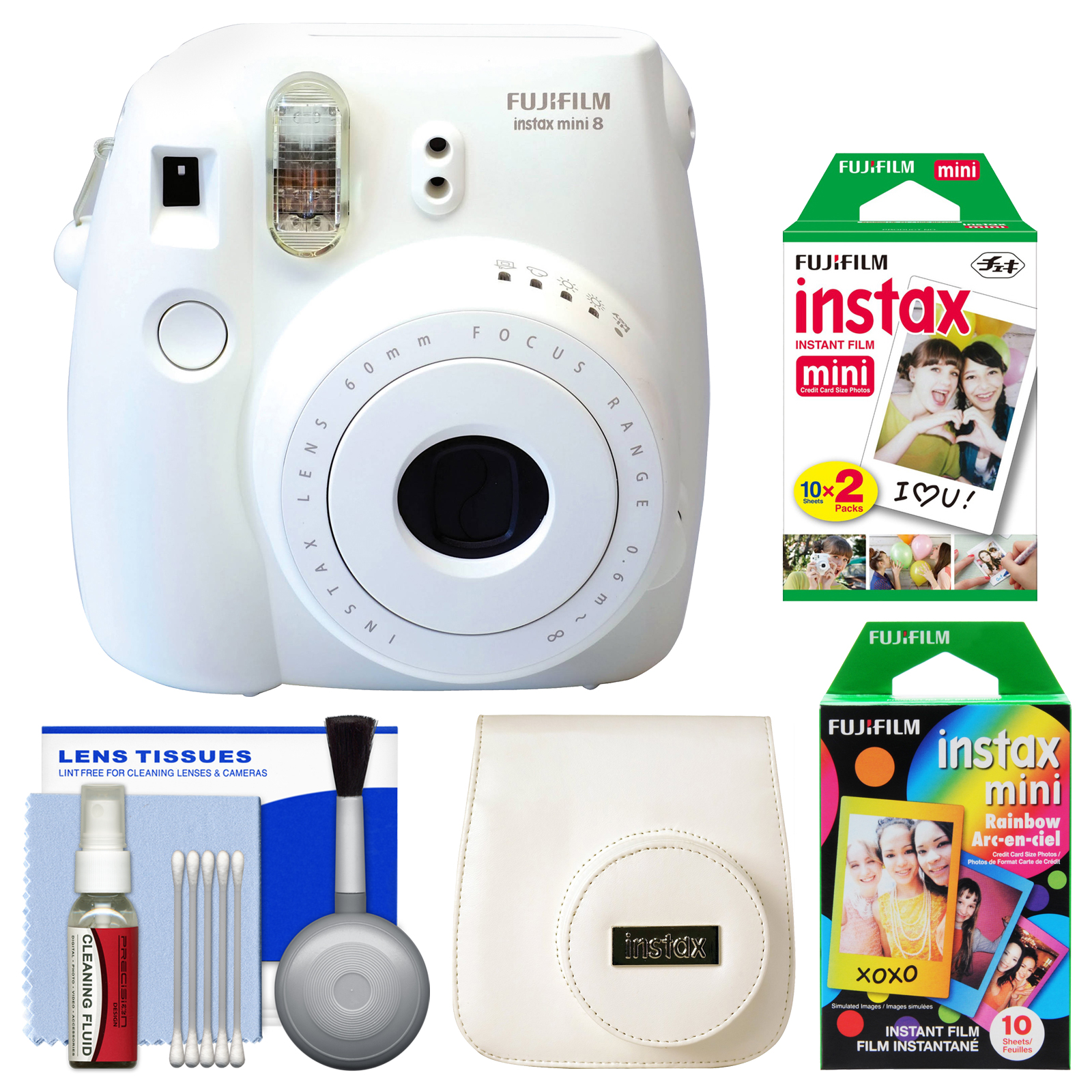 Fujifilm Instax Mini 8 Instant Film Camera (White) with 20 Twin & 10 Rainbow Prints   Case   Kit