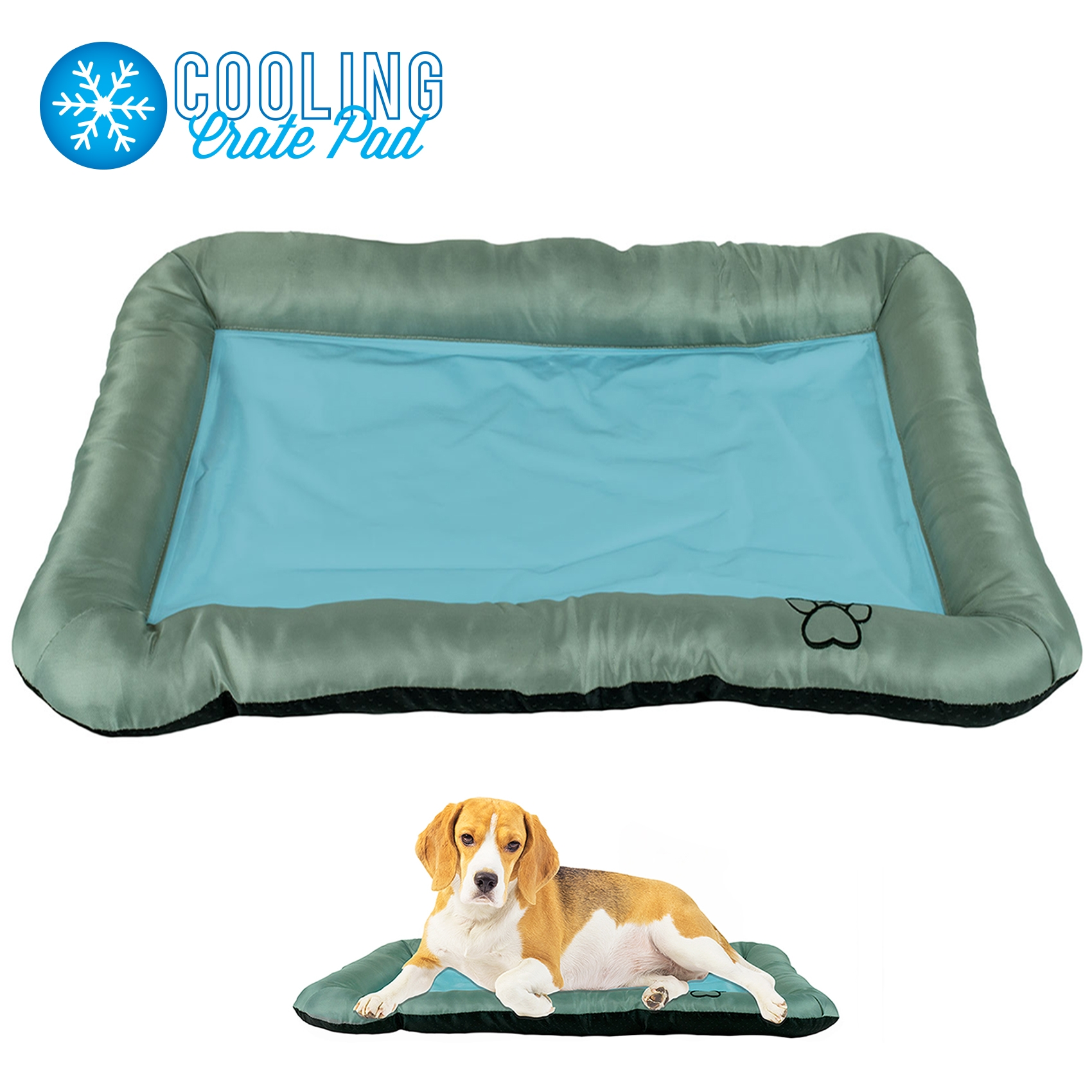 "Pet Dog Self Cooling Crate Kennel Cage Cushion Pad Gel Bed Mat, 30"" x 21"" Light Blue and Gray"
