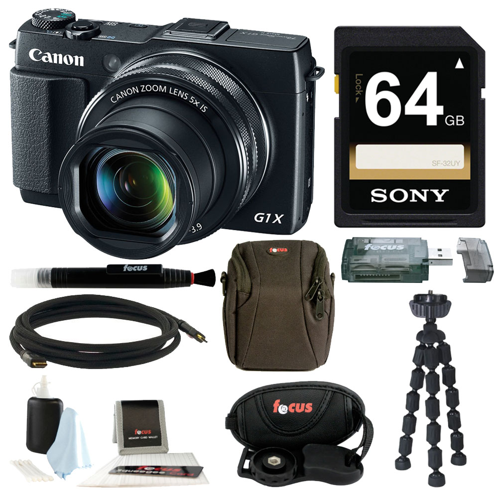 Canon PowerShot G1 X Mark II Digital Camera with 64GB Del...