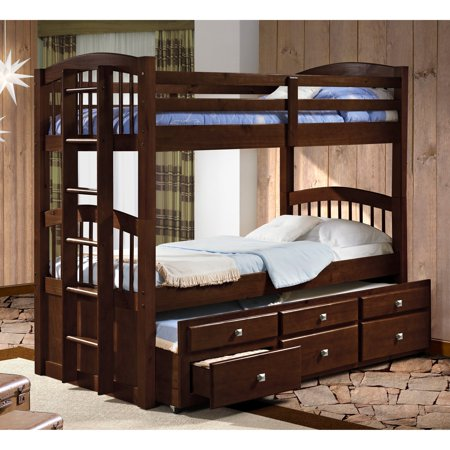 Donco Twin Over Twin Captains Trundle Bunk Bed Walmart Com