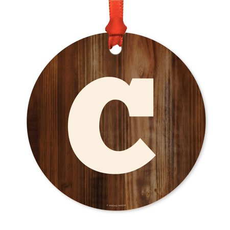 Metal Christmas Ornament, Monogram Letter C, Rustic Wood, Includes Ribbon and Gift Bag - Ribbon Letters