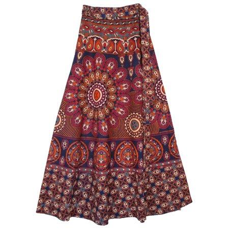 Mulled Wine Colored Mandala Skirt with Wrap Style Ethnic