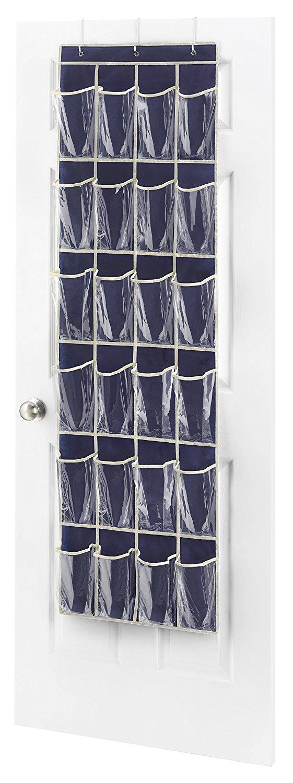Whitmor 24 Pocket Hanging Over the Door Shoe Organizer Rack Hanging Storage Space Saver by Whitmor