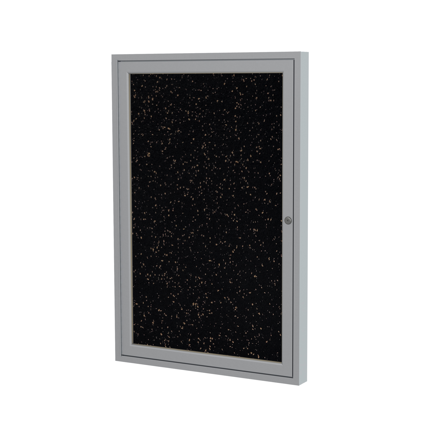 PA12418TR-BK Ghent 1 Door Enclosed Recycled Rubber Bulletin Board with Satin Frame Wall Maunted Tackboard, 24 in H x 18 in W, Black