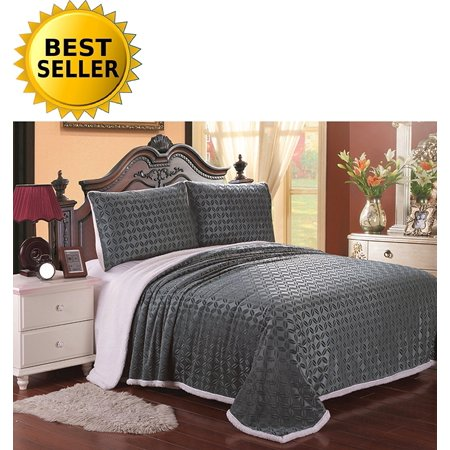 Elegant Comfort Luxury Sherpa Blanket On Amazon  Best Seller Micro Sherpa Ultra Plush Blanket   Full Queen  Gray