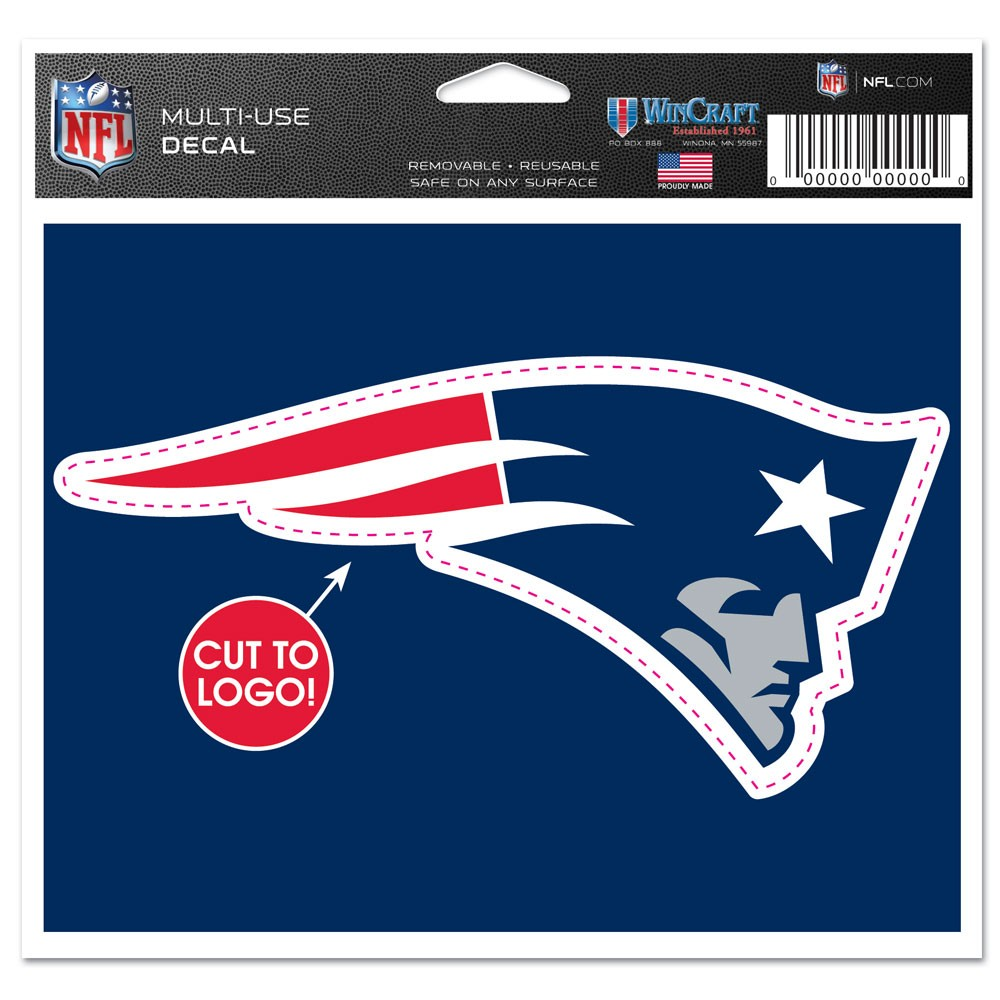 New England Patriots Official NFL 4.5 inch  x 5.75 inch  MultiUse Car Decal by Wincraft