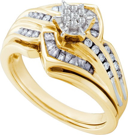 14K Yellow Gold 0.42ctw Stunning Fashion Pave Diamond Center Round Bridal Ring by Jewelrypot