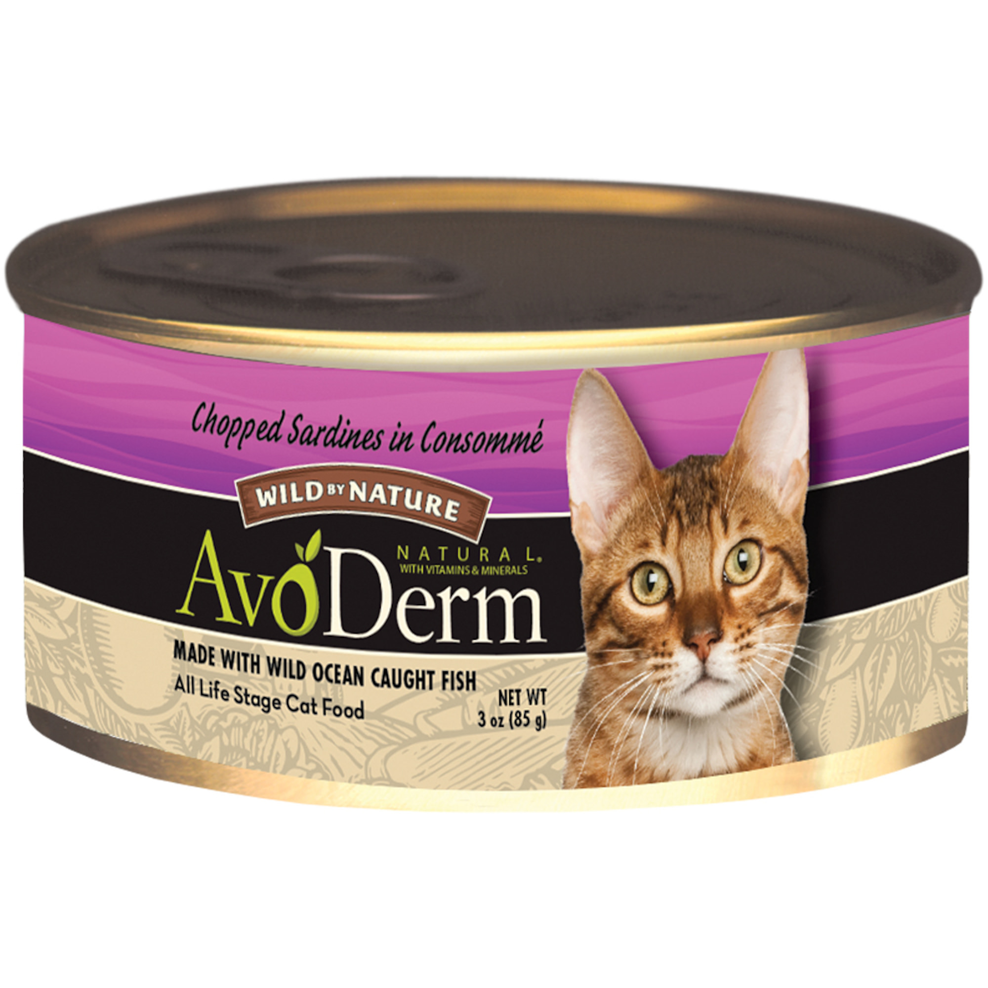 AvoDerm Natural Wild by Nature Chopped Sardines in Consomme Cat Food, 3-Ounce Can