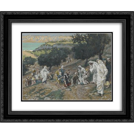 James Tissot 2x Matted 24x20 Black Ornate Framed Art Print 'Jesus Heals the Blind and Lame on the - Jesus Heals Blind