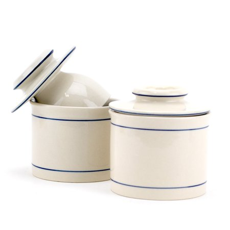 Butter Keeper Crock, French Style Ceramic Butter Keeper Dish - White (pack Of 2)