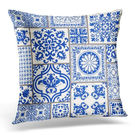 Majolica Pottery - ECCOT Patchwork with Victorian Motives Majolica Pottery Blue and White Azulejo Original Traditional Portuguese Pillowcase Pillow Cover Cushion Case 16x16 inch
