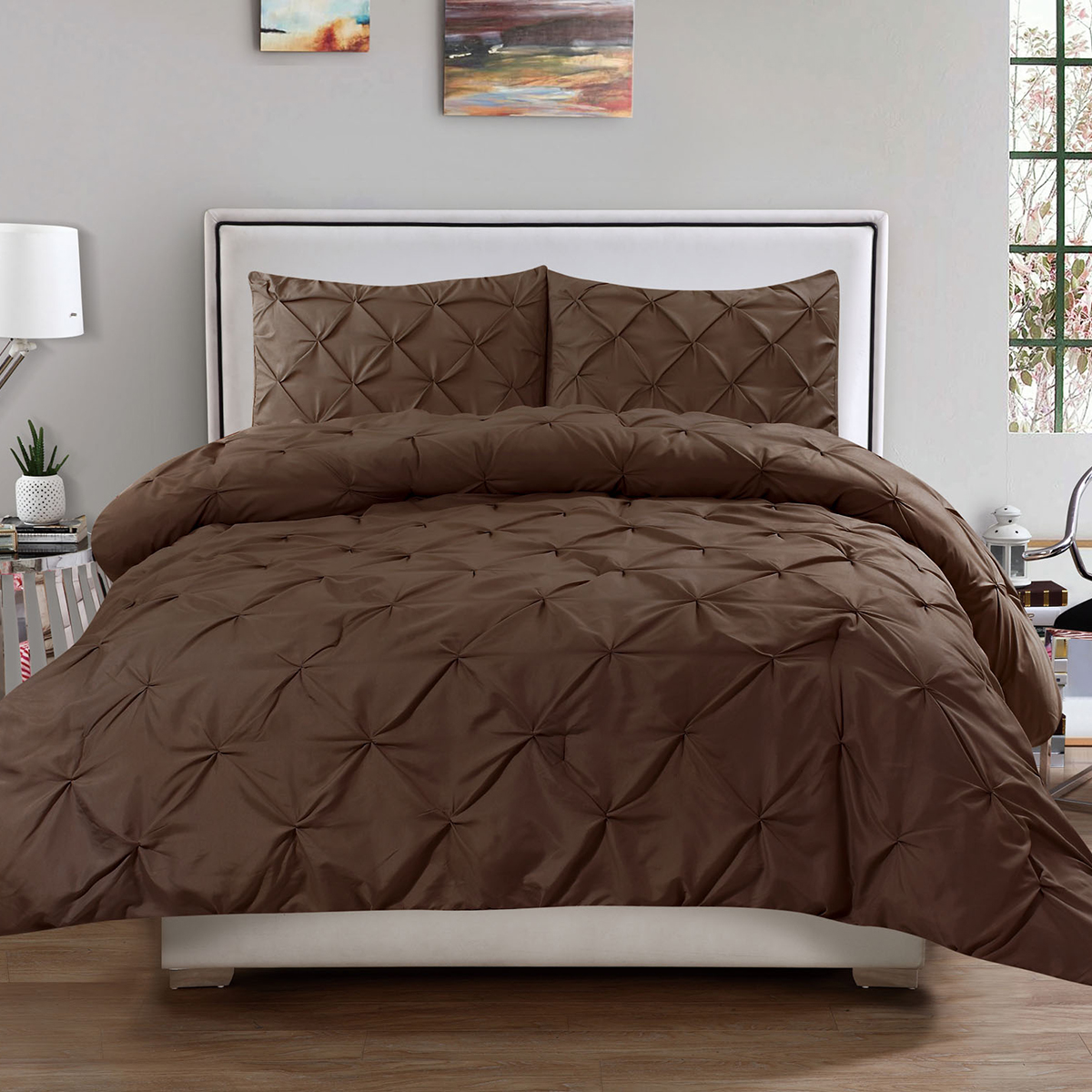 Hudson 3 Piece Pinch Pintucked Pintuck Polyester Comforter and Sham Set