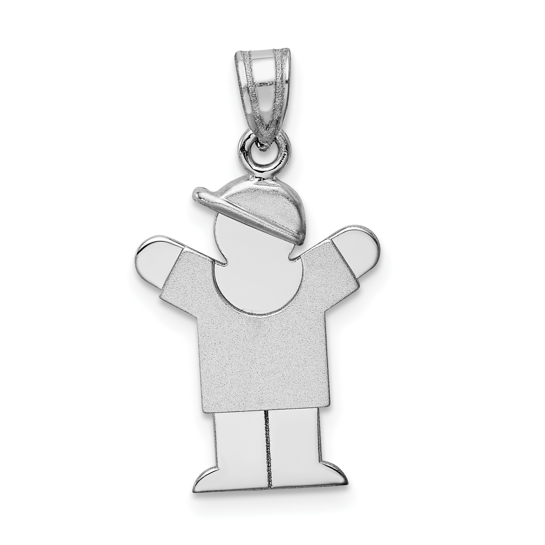 14K White Gold Small Boy w/Hat on Right Engravable Charm - image 2 de 2