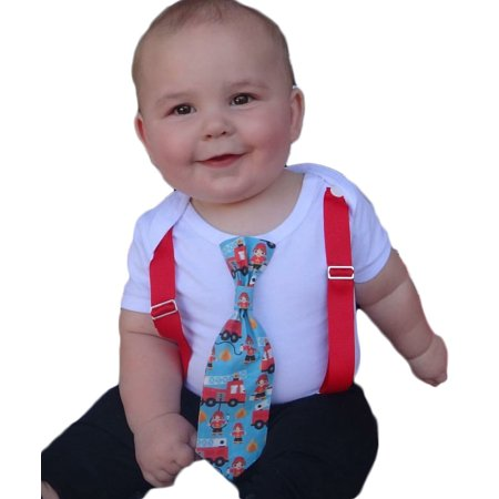 Firetruck Birthday Outfit Baby Fireman Shower Gift Boy Tie Daddy Is A Firefighter And Suspenders Noahs Boytique 6 12 Months