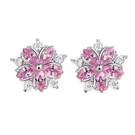 KABOER Pink Crystal Zircon Cherry Blossom Flower Stud Earrings For Women Girl Brincos Cherry Quartz Flower Earrings