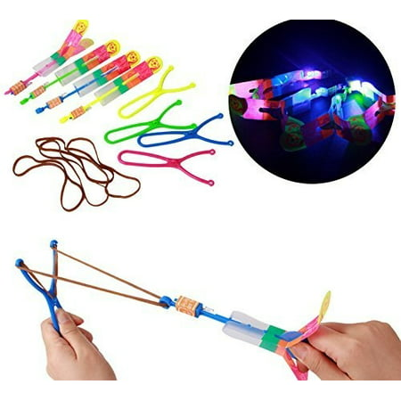 12/pk Large Size Led Light Slingshot Arrow Rocket Helicopter Flying Toy Party Fun Elastic - Slingshot Toy