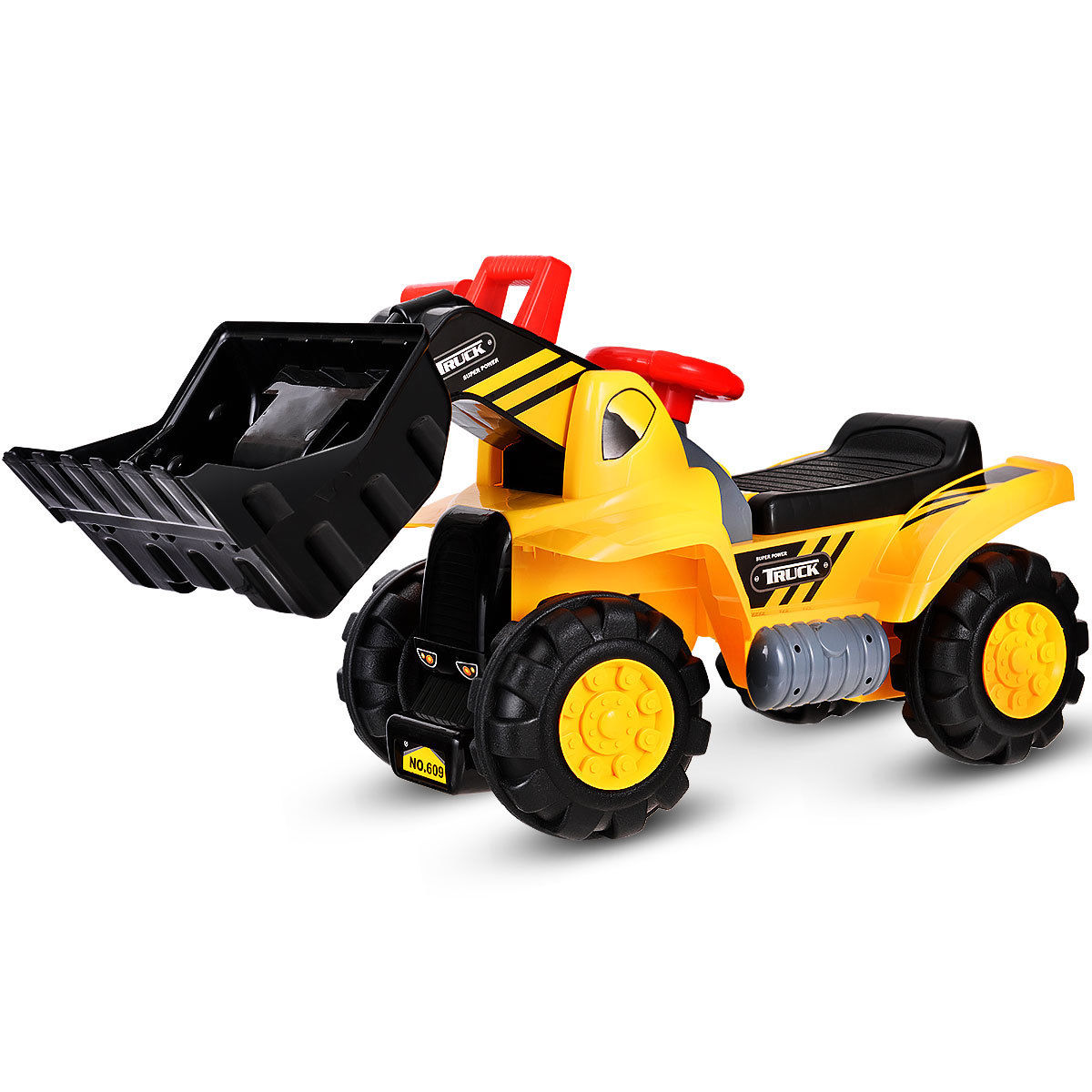 Costway Kids Toddler Ride On Excavator Digger Truck Scooter w/ Sound & Seat Storage Toy