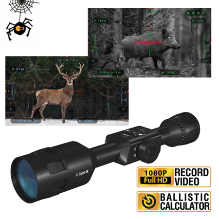 ATN X-Sight 4K Pro 3-14x Smart Day/Night Rifle Scope - Ultra HD 4K technology with Full HD Video, 18+ hrs Battery, Ballistic Calculator, Rangefinder, WiFi, E-Compass, Barometer, IOS & Android