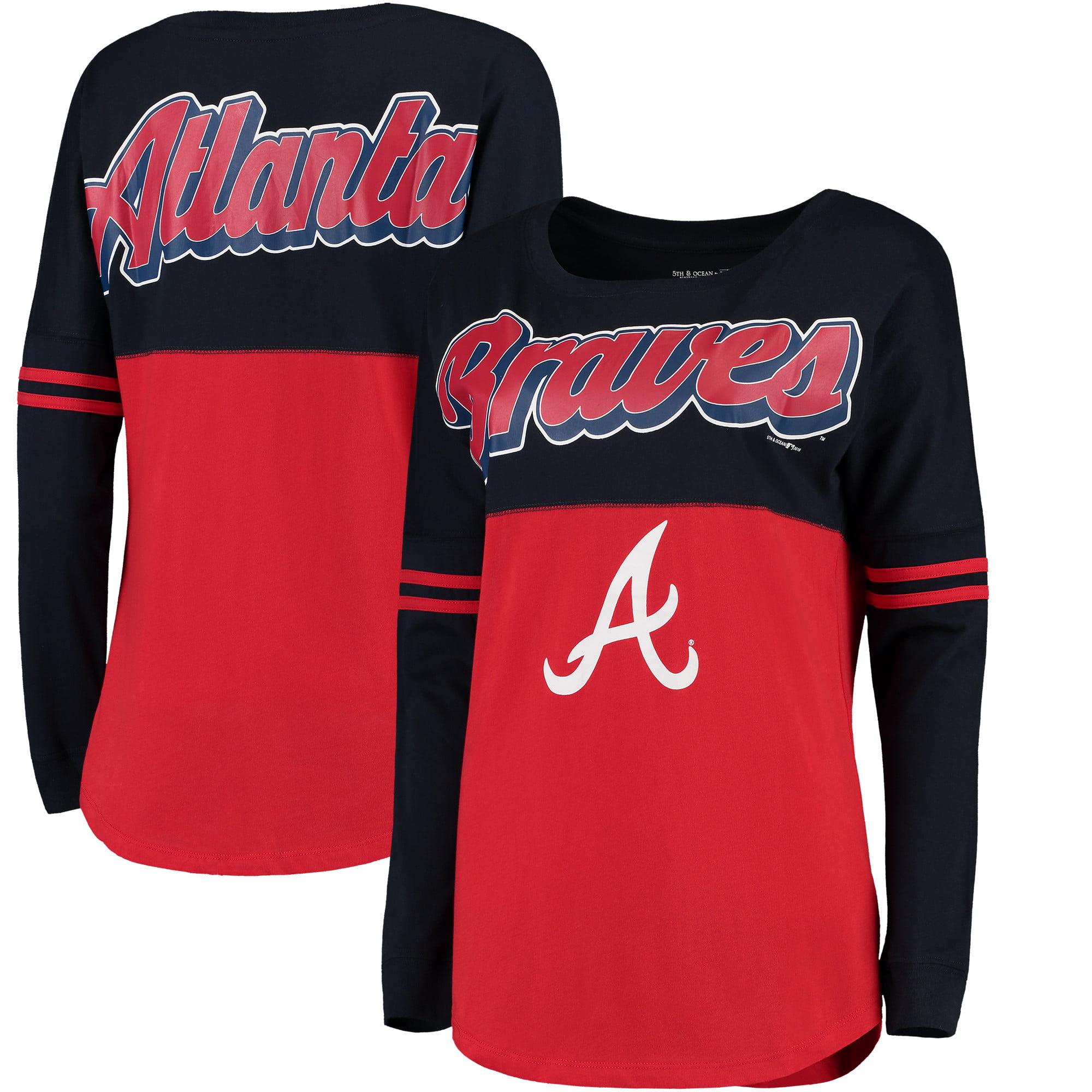 Atlanta Braves 5th & Ocean by New Era Women's MLB Baby Jersey Varsity Crew Boyfriend Long Sleeve T-Shirt - Red