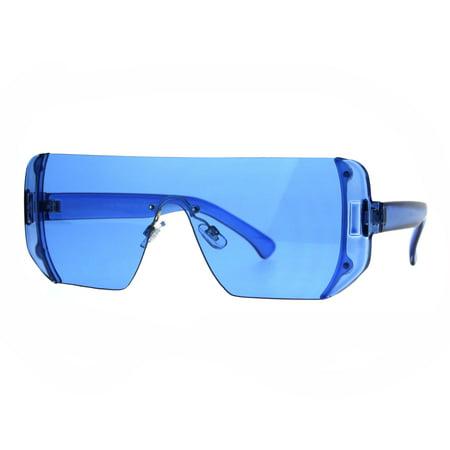 Rectangular Pop Color Shield 80s Robotic Disco Sunglasses - Yellow Sunglasses