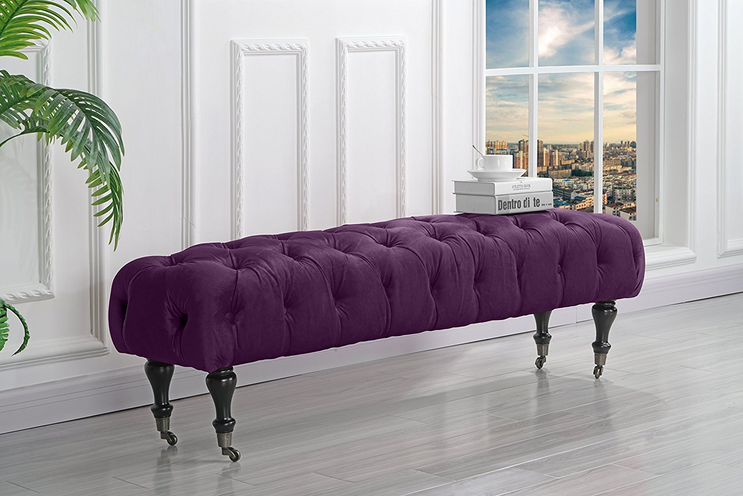 Classic Tufted Velvet Bedroom Vanity Bench with Casters (Navy) by Sofamania