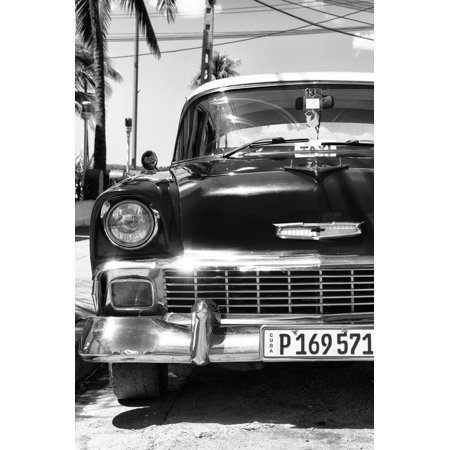 Cuba Fuerte Collection B&W - Chevy Classic Car IV Print Wall Art By Philippe