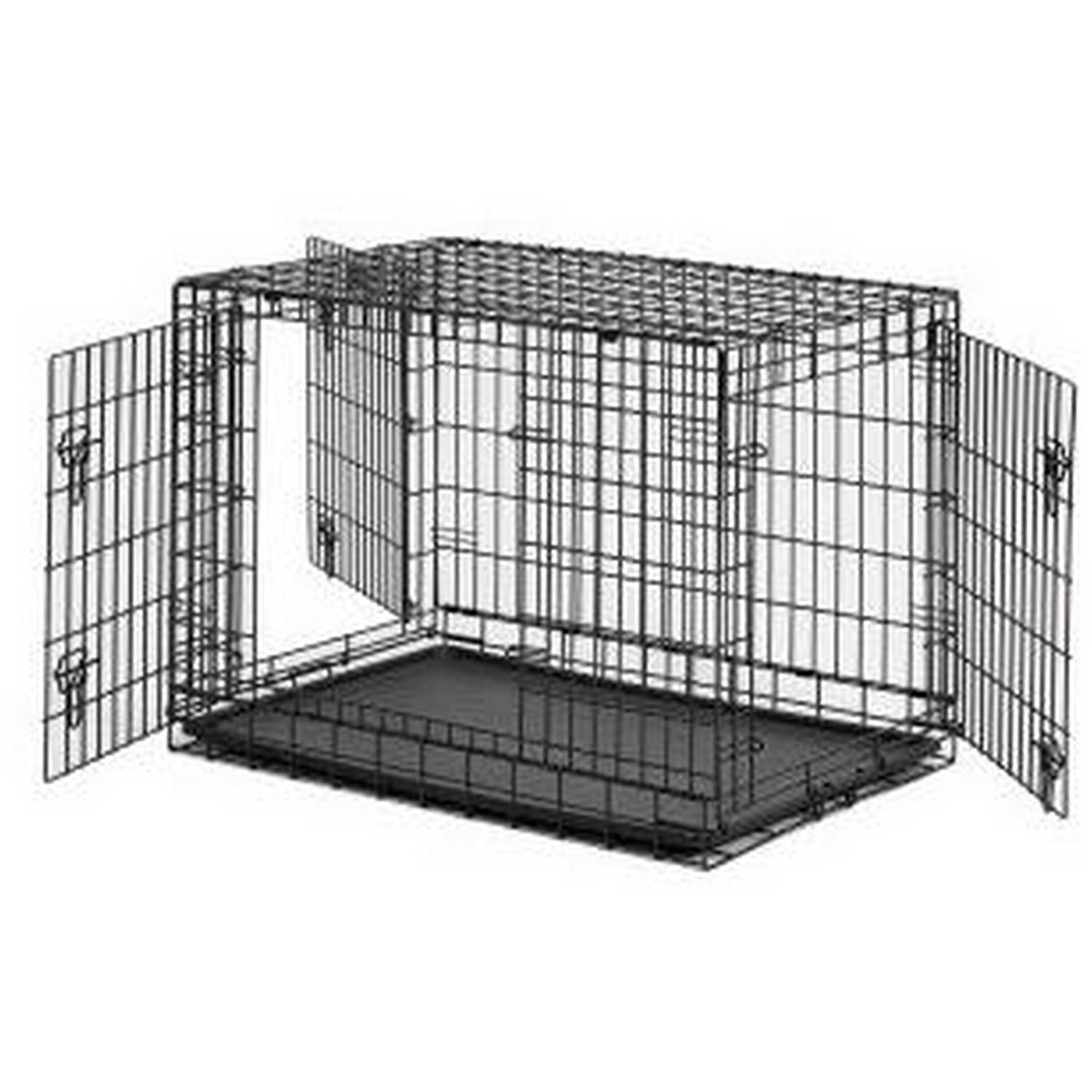 "Aleko SDC-3D48bdiv 48"" 3-Door Folding Suitcase Dog Cat Crate Cage Kennel With Abs Tray And Divider"