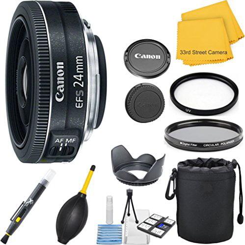 Canon EF-S 24mm f/2.8 STM Wide Angle 33rd Street Pancake Lens Bundle for Canon DSLR Cameras