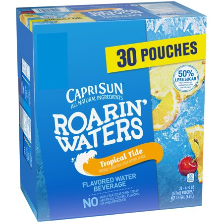 (Capri Sun Roarin' Waters Tropical Fruit Flavored Water Beverage 30-6 fl. oz. Pouches)
