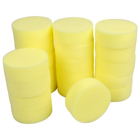 20pcs Yellow Rounded Soft Wash Cleaning Polishing Sponge Pads for Auto Car