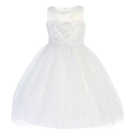 Girls White Embroidery Satin Tulle Tea-Length Communion Dress 8
